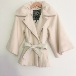 Guess White Trench Coat Bow